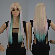 Lolita Lady Long Straight Multi-color Full Wig Silky Hair Cosplay Party Costume