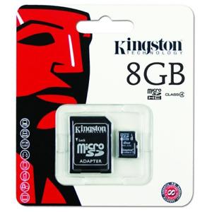 Kingston Micro SD 8GB SDHC Memory Card Classe 4 con adattatore per scheda SD