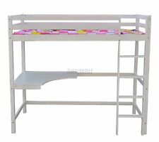 Spare Repair High Sleeper Cabin Wooden Bunk Bed With Desk Kids Single 3ft White