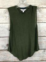 Joy Lab Olive Green Sleeveless 100% Tensel Top EUC Women's Size M