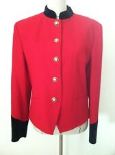 women blazer red black 100% wool military gold button up JH Collectibles