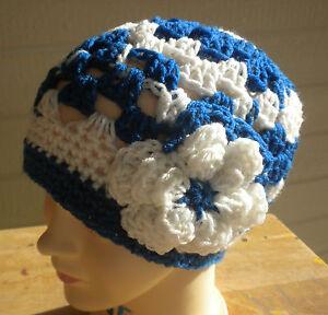 Beanie flower  design hand crochet Womens Teen hat Royal Blue White COLTS NEW