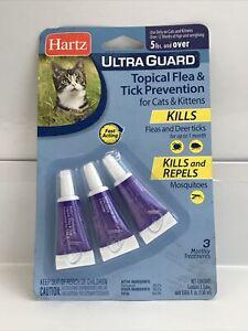 Hartz UltraGuard Flea & Tick Drops for Cats & Kittens, 5 lbs & over, 3 Ct