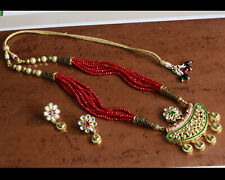 Bollywood Indian Wedding Red Pendant Choker Necklace Earring Set Fashion Jewelry
