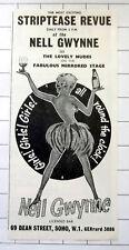 NELLE GWYNNE Dean Street Soho Striptease Revue Vintage 1962 Advert