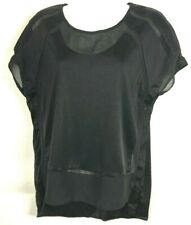Trouve Black Semi Sheer Cap Sleeve Blouse Asymmetrical Hem Women Size XS