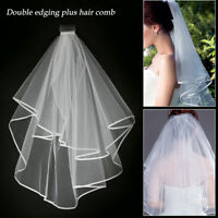 Ivory Bridal Wedding Veil 1 Tier Elbow Length Lace Trim with Comb