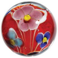 """22mm DAHLIA flower Handmade art glass Red Blue Pink Marble ball 7/8"""" SHOOTER"""