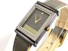 Reloj pulsera Dogma Quartz Nuevo negro y dorado correa cuero bicolor