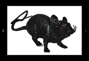 GIANT SIZE BLACK RUBBER 17 IN RAT fake mouse play rats joke trick mice halloween