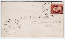 """#26A-3 Cents 1857, 65L10L """"MAYVILLE/WIS."""" TO PAINESVILLE, Ohio, 1859-1860"""