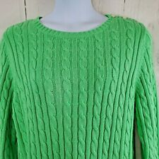 Lands' End 20W-22W Womens Cable Knit Cotton Sweater Lime Green Button Shoulder