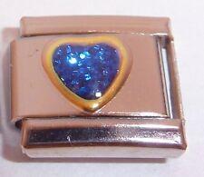 BLUE GLITTER LOVE HEART Italian Charm - 9mm fits Classic Starter Bracelets N485