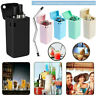 Reusable Metal Collapsible Portable Drinking Straw Cleaning Brush NEW