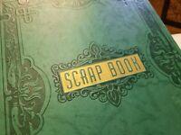 Vintage 1950s Scrapbook Embossed Front Cover String Tie Binding Green Album Book