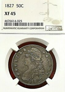 """1827 """"SQUARE BASE 2"""" CAPPED BUST HALF DOLLAR NGC XF-45"""