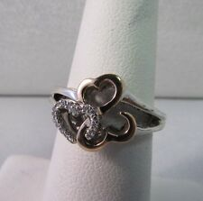 Custom Hearts 14k GOLD/sterling Diamond Ring. Size 6, J.WBR designer!   #813