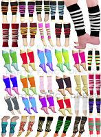 GIRLS TEEN 80'S DANCE PLAIN RIBBED LEG WARMERS WOMEN LEGWARMER FANCY DRESS TUTU