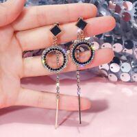 Elegant Black Crystal  Long Tassel Drop Dangle Earrings Women Charm Jewelry Gift