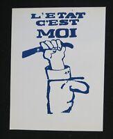 Affiche mai 68 L'ETAT C'EST MOI DE GAULLE 25x34cm french poster may 1968
