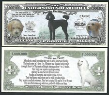 Poodle Dog Certificate Million Dollar Bill Fake Play Funny Money Novelty Note
