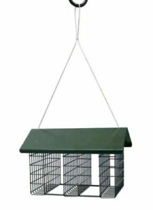 Triple Suet hanging bird feeder green metal
