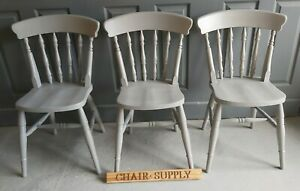 New Solid Wood Spindle Back Farmhouse Kitchen Dining Chair in F&B Lamp Room Gray