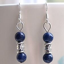 Lapis Lazuli Gemstone Earrings with Sterling Silver Hooks New Blue Drops LB72