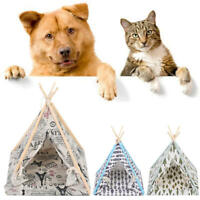 Pet Dog House Foldable Linen Washable Tent Puppy Cat Indoor Outdoor Teepee Mat