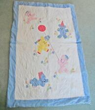 Sweet Vintage All Handmade BABY QUILT Applique Embroidery BEARS in PARTY HATS