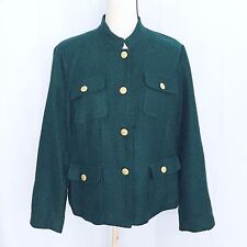 Chico's womens casual melitary jacket goddess green size 2 L retail for $129