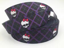 DIY 5Yard 1'' Skull Printed Grosgrain Ribbon Hair Bow Sewing Ribbon Sewing Craft