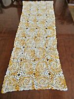 "Hand crocheted ivory and orange vintage table runner/dresser scarf - 35"" x 13"""