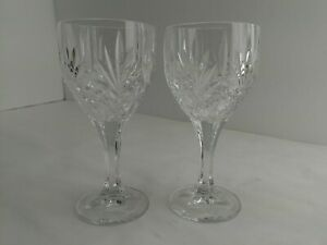 """2 Imperial Estate Czech Crystal Goblets ICY2 6.5"""" Fan & Criss Cross Signed (7C2)"""
