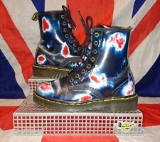 England Vintage*Heat Spot Red White Blue Dr Doc Martens*Punk Goth Skin*Two Tone