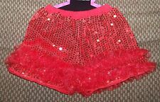 Baby Red Sequin Shorts Size 6-12 Months Infant Toddler Ruffles Cotton 6 12 M Mo