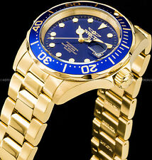 Invicta 40mm Pro Diver Blue Dial Scalloped Bezel Gold IP SS 200MT Bracelet Watch