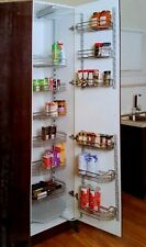 Dual Slide Out Kitchen 450mm Tandem Pantry Unit with 6 Tier Chrome Finish Basket
