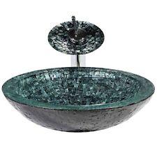 Ice Sea Aufsatzwaschbecken Glas Waschschüssel Handmade mit Gratis Einhebel-Armur