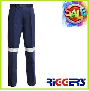 3 x RIGGERS Cotton Drill Work Trousers Pants with Reflective Tape Navy Wholesale