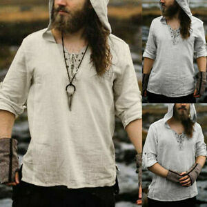 Men's Medieval Renaissance Top Shirt Cosplay Costume Pirate Hooded Jacket