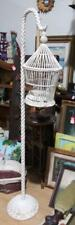 Antique Old White Wood White Wicker Birdcage House & Floor Stand Vintage Hanging
