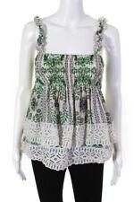 Tory Burch Womens Tiered Ruffle Garden Party Top White Green Size 4 12672056