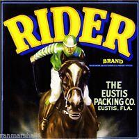Eustis Florida Rider Horse Jockey Race Orange Citrus Fruit Crate Label Art Print