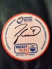 Taylor Hall Mental Health /110 Autograph Orange Oilers Signed Puck Hockey Talks