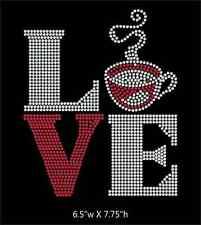 Love Square Coffee / Cappuccino Iron on Rhinestone Transfer DIY