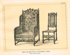 Art Furniture c1880 CHAIRS IN CASTLE ONET - XVI CENT Antique Duotone Lithograph