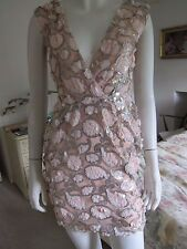 Reduced - Women's RARE LONDON Sequin Hugging Sleeveless Mini Dress Sz 6 RRP £75