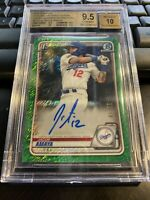 Jacob Amaya BGS 9.5 / 10 2020 Bowman Chrome Green  Shimmer Refractor Auto #'d 99
