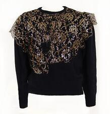 Vintage I.B. Diffusion Black Angora & Silk Sweater with Gold Lace & Beads Sz M